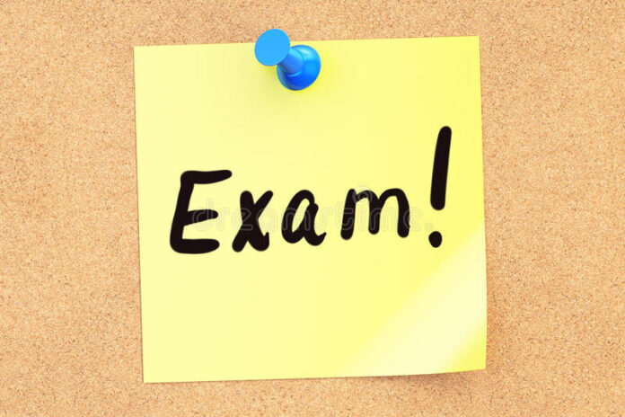 exam text sticky note pinned to corkboard d rendering 82204269 Education