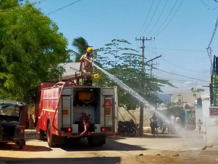 HPT Fire Chemical spraying in Kamlapur town panchayat